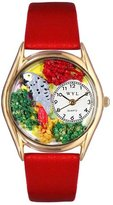 Whimsical Watches Kids' C0150002 Classic Gold African Gray Red Leather And Goldtone Watch