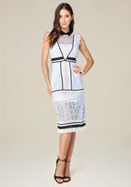 Bebe Collared A-Line Midi Dress