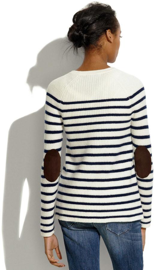 Madewell Elbow-Patch Stadium Sweater in Stripe