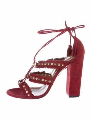 Aquazzura Suede Tassel Accents Sandals Red