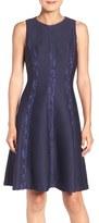 London Times Lace & Knit Fit & Flare Dress