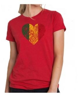 LA Pop Art Women's Premium Word Art T-Shirt - One Love Heart