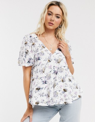 ASOS DESIGN broidery trapeze top in floral print