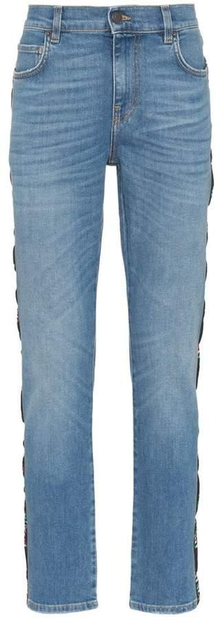 Moschino Italy flag logo stripe slim-fit jeans