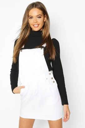 boohoo Denim Overall Frayed Hem Pinafore Dress