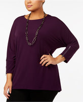 Alfani Plus Size Zip-Sleeve Dolman Top, Created for Macy's
