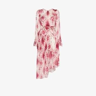 Zimmermann Womens Pink Ikat Print Asymmetric Silk Dress