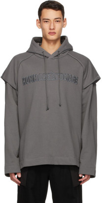Juun.J Grey Embroidered Hoodie