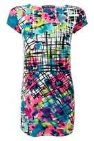 Select Fashion Fashion Womens Multi Check Floral Curve Hem Dress - size 6