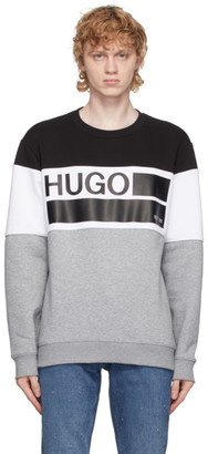 HUGO BOSS Grey and Black Fleece Crewneck Sweatshirt