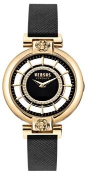 Versus By Versace Versus Women's Silver Lake Black Leather Strap Watch 36mm