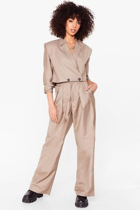 Nasty Gal Womens Down to Business High-Waisted Wide-Leg Pants - Stone