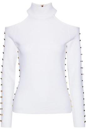 Alice + Olivia Kahlo Cold-shoulder Studded Stretch-wool Turtleneck Top