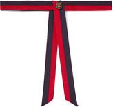 Gucci Tiger-Embellished Striped Grosgrain Neck Tie