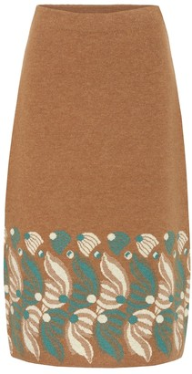 Dries Van Noten Intarsia wool and alpaca-blend skirt