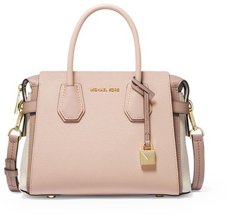 MICHAEL Michael Kors Mercer Small Tri-color Pebbled Leather Belted Satchel