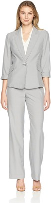 Le Suit LeSuit Women's Pinstripe 1 BTN Notch Collar Pant Suit