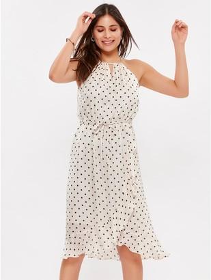 M&Co Polka dot wrap midi dress
