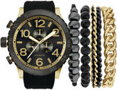 Rocawear Men's Black And Gold Stackable Bracelet Strap Watch Set Rmst5173G328-121