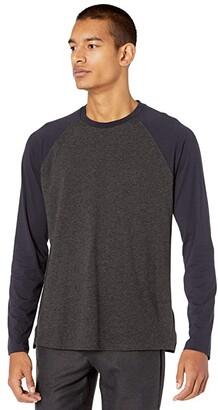 Vince Long Sleeve Color-Block Crew (Coastal/Heather Charcoal) Men's Clothing