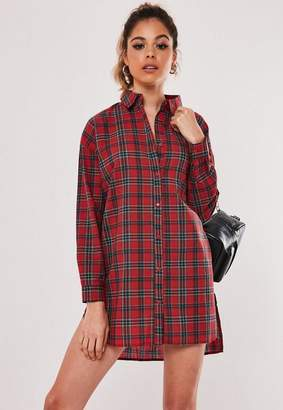 Missguided Red Checked Dip Hem Shirt