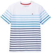 Tommy Hilfiger Printed Horizontal Stripe Short Sleeve Tee (Big Boys)