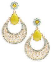R.J. Graziano Cabochon and Crystal Pave Drop Hoop Earrings