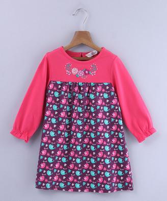 Beebay Girls' Casual Dresses Purple - Pink & Purple Floral Contrast-Yoke Long-Sleeve Dress - Newborn, Infant, Toddler & Girls