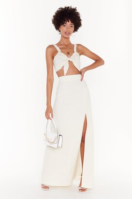 Nasty Gal Womens Good To Bow Linen Crop Top And Maxi Skirt Set - White - 8