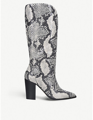 Carvela Sheer snake-embossed faux-leather heeled knee-high boots