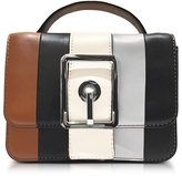 Rebecca Minkoff Almond and Black Leather Small Hook Up Top Handle Crossbody Bag