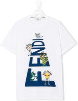 Fendi logo front t-shirt - kids - Cotton - 14 yrs