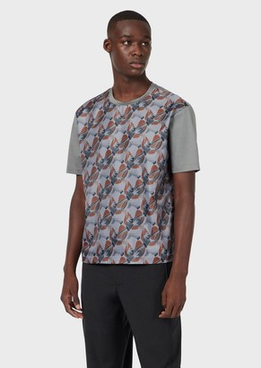 Emporio Armani Mercerised Jersey T-Shirt With Decorative Print