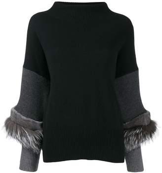 Agnona knit mink fur trim jumper