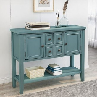 Longshore Tides Milne 46'' Solid Wood Console Table Table Base Color: Dark Blue, Table Top Color: Dark Blue
