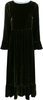 Black Coral velvet ruffled-hem dress