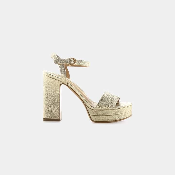 Salvatore Ferragamo Trento Metallic Leather Platform Sandal
