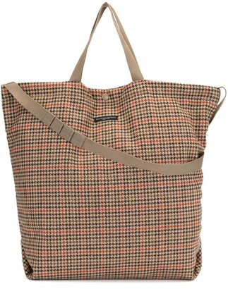 Engineered Garments Logo-Patch Houndstooth-Pattern Tote Bag