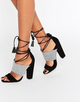 Paper Dolls Nixie Monochrome Sandals with Tassels