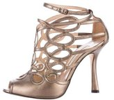 Oscar de la Renta Metallic Caged Sandals