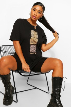 boohoo Plus Leopard Swatch Amour Graphic T-Shirt