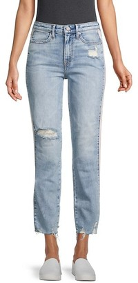 High-Rise Ripped Crop Straight Jeans