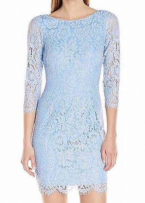 Adrianna Papell Women's Long Sleeve Metallic Lace Sheath Cocktail Dress