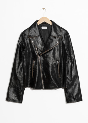 And other stories Patent Leather Biker Jacket
