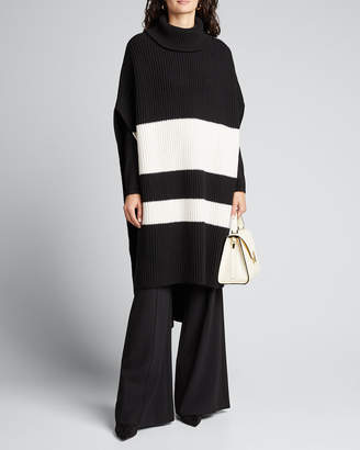 Joseph Colorblock Long Turtleneck Poncho