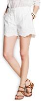 Cotton embroidered high-waist shorts