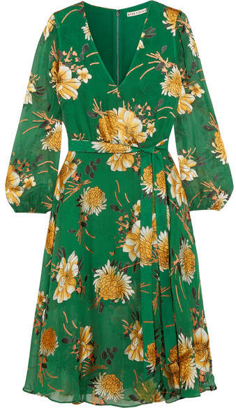 Alice + Olivia Coco Floral-print Fil Coupé Chiffon Dress - Green