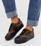 Asos Design DESIGN Wide Fit Detect flatform sneakers in leopard and black