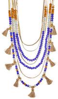 Jessica Simpson Crystal Bead & Tassel Multi Row Necklace