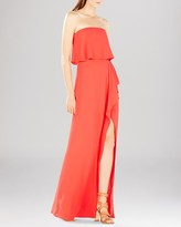 BCBGMAXAZRIA Gown - Felicity Strapless Chiffon Overlay High Slit